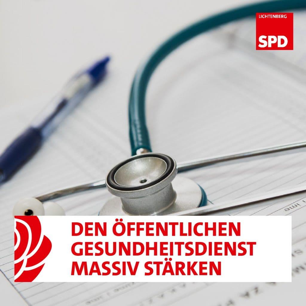 Schriftzug der SPD und Stetoskop